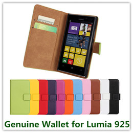 Wholesale Lumia 925 Case Leather - 10PCS Colorful Genuine Leather Wallet Pouch Back Skin Cover Case for Nokia Lumia 925 with Card Holder and Stand Case