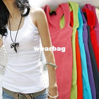 Wholesale Women Woven Shirts - Wholesale-Free shipping HOT SALE woven cotton rib knitting long design vest top, sleeveless casual women ladies tank T-shirts vest tops