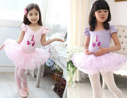 Wholesale Girls Dancing Shoes - boutique Dance Shoes Print girl leotard ballet dance performance wear costume stage short sleeve ballet skirt child Tutu Dancewear Skate