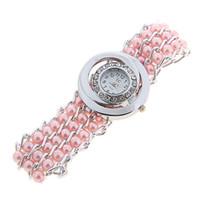 pulsera de perlas relojes mujeres al por mayor-Alta calidad de moda pulseras de perlas de cuarzo relojes pulseras de perlas de envolver alrededor de la mujer reloj de pulsera de mujer colores de la gota envío