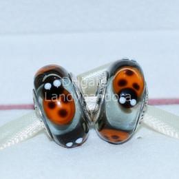 Handmade Sterling Silver Bracelets Canada - S925 Sterling Silver Screw Core Ladybugs Murano Glass Charm Beads Fit European Jewelry Bracelets Necklaces & Pendants