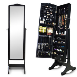 Wholesale Display Cabinet Locks - Wooden Jewelry Cabinet Storage Organizer Box Jewelry Display Case With Mirror Locking For Ladies Ship from USA