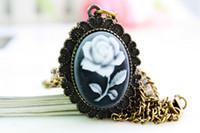 colares vintage para mulheres venda por atacado-Novo 2016 Rosa colhedores Vintage Womens Relógio de Bolso Colar Reloj De Bolsillo Encanto Moda Bronze Mão Vento Mão Vento Dropship