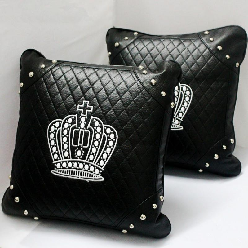 Black Leather Crown Pattern Cushion Rivets Embellishments