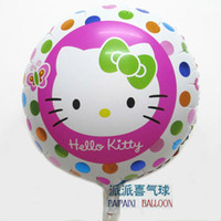 Wholesale Small Round Balloons - 18inch hello kitty round hape foil balloon for girl birthday small round aluminum balloon birthday party decorations, New Year