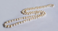Wholesale Ladies Freshwater Pearl Necklace - 1.2M Pearl Necklaces Natural White Black Freshwater Pearl For lady Long Pearl Beaded Necklaces 5Pcs lot
