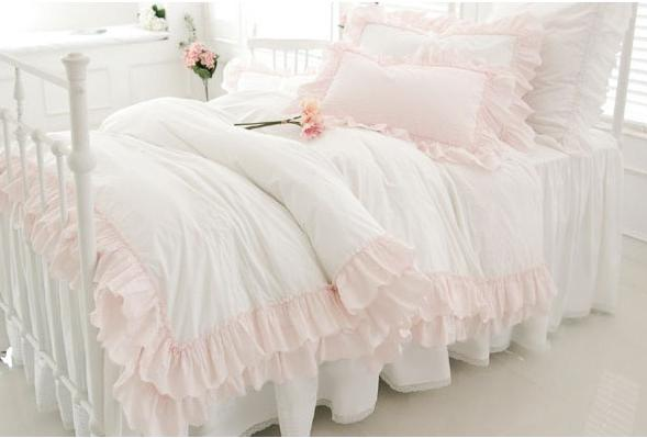 bedding slanting 100 stripe cotton pure white pink princess bedding set ruffle luxury duvet cover wedding bedding sweet cotton comforter sets white duvet