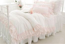 Wholesale Princess Wedding Duvet - Bedding slanting 100% stripe cotton pure white pink princess bedding 4 piece set ruffle luxury duvet cover wedding bedding sweet