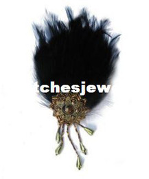 Wholesale black feather headpieces - Wholesale-Free Shipping! ! 10pcs lot, Sex Lady Black Headpiece Feather Hairpins Accent GEM Can use as Brooch