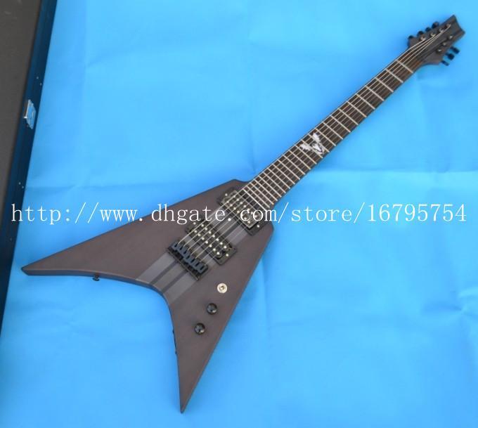 7-strings elm body electric guitar with cat ebony fingerboard+foam box 1576