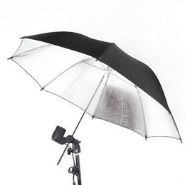 Wholesale Photo Flash Light Reflector - NEW 83cm 33in Studio Photo Strobe Flash Light Reflector Umbrella Black Silver D1137