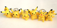 Wholesale New Genius - New 12 pcs lot Fashion Cute Pikachu Anime Cartoon keychains Genius Monster pendants PVC 3cm For Christmas Gift