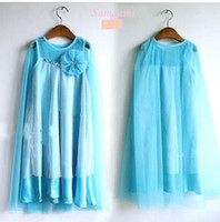 Wholesale Tank Summer Beach Dress - In Stock Elsa dress 2014 summer princess dress blue lace yarn kids Chiffon Gauze Tank Dress