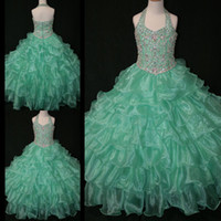 Wholesale Glitz Pageant Dress T - Halter Backless Girl's Pageant Dresses With Beads Sequins Body Ball Gown Tiered Organza glitz pageant dress Kids Floor-Length zahy599