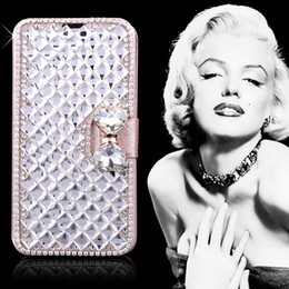 Wholesale Diamond Case For Galaxy S4 - For Galaxy S5 Note 3 4 Luxury Diamond Bling Rhinestone Leather Flip Wallet Case Cover Credit Card For Samsung Note3 S6 edge S4