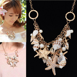 Wholesale South Sea Pearls White - New Hot Gold Chunky Tone Sea Shell Starfish Faux Pearl Bib Conch Necklace Statement Necklace [JN06111*1]