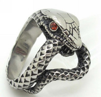 Wholesale Nice Punk - Free Shipping, Best Price Nice Gift 316L Stainless Steel Red Crystal Eye Snake Cobra Cool Men's Ring 2013 New Punk Jewelry Gift