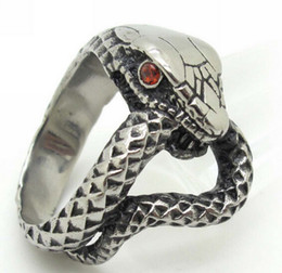 Wholesale Rings Prices - Free Shipping, Best Price Nice Gift 316L Stainless Steel Red Crystal Eye Snake Cobra Cool Men's Ring 2013 New Punk Jewelry Gift