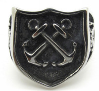 Wholesale Mens Anchor Rings - Solid Silver and Black Stainless Steel Vintage Mens Charm Jewelry, Cool Biker Rock Retro Anchor Ring New Arrival Free Shipping