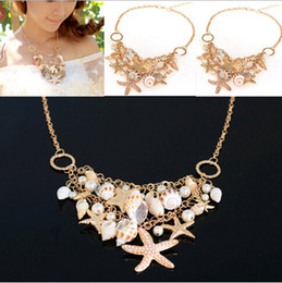 Wholesale Buy Matches - Summer buy two get one free matching bracelet Multielement Gold Plated Starfish Seashell Conch Pearl Series Choker Bib Necklace [JN06111*2]
