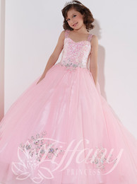 Wholesale Double Color Gowns - Pink Cute Girls Pageant Dresses Sequins Beads Double Straps Little Rosie Flower Pageant Gowns Hot Sale Clean Tulle Prom Party Dress ZZ21
