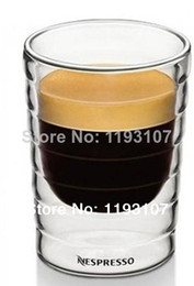 Wholesale Double Wall Espresso - Wholesale-Free Shipping novelty households 6Pcs lot CitiZ Espresso(85ml) Double Wall shot Glass Coffee Cup,Mug,teacup,Thermo Glass 2.5oz