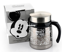 Wholesale Coffee Cup Soup - Wholesale-Mickey Mouse Stainless Steel Thermal Drinkware Coffee Cups Tea Cup Thermos Insulated Travel Coffee Mugs Tea Mug for Soup w Lid