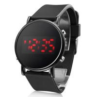 relógio redondo relógio digital venda por atacado-Unisex Rodada Espelho Rosto LED Vermelho Digital Black Silicone Banda Relógio de Pulso homens mulheres esporte luxo geléia de doces relógios moda casual watch