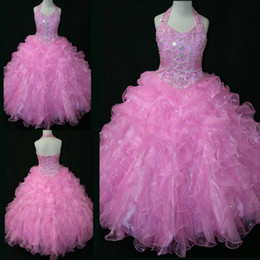 Wholesale Gown Upper - Enchanting Popular Pink Floral Girls Pageant Dresses 2014 Upper Halter Tiered Ball Gown Full Length Kids Prom Dresses WD259