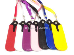 Wholesale E Cig Leather Pouch - Portable PU Ego Leather Lanyard Carrying Pouch Pocket Neck Sling Rope Lanyards for ego-t ego-c twist ego-w e cig with ce4 ce5 ce6 ce7 ce4s