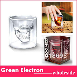 Wholesale Skulls Head Vodka - Wholesale-4pcs lot Free shipping by CPAM Doomed Crystal Skull Shot Glass Crystal Skull Head Vodka Shot Wine Glass Novelty Cup 137g pc