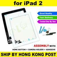 Wholesale New Black or White For iPad Glass Touch Screen Panel Digitizer Home Button Adhesive Assembly Replacement Repair Tool Kit