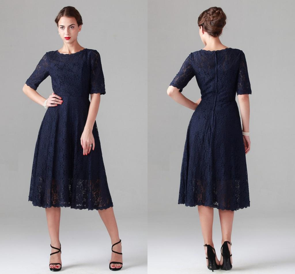 Navy Blue Tea-length Lace Mother of the Bride Dresses Vintage Half Long Sleeve Beach Bridesmaid Bridal Party Evening Gowns 2019 Cheap Spring