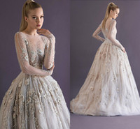 Wholesale Paolo Sebastian Sheer Long Sleeves Appliques Evening Prom Party Pageant Dresses Scoop Neck Sliver Beaded Ball Gown Floor Length