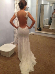Wholesale Gowns Transparent - 2017 Elegant Sheer Back Dress Mermaid Wedding Dresses Transparent Big Open Back Court Train Celebrity Dresses Bridal Gowns New Hot Sale