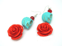 Wholesale Day Dead Skulls - 2014 new Red and Turquoise Day of the Dead Roses and Sugar Skull Earrings halloween jewelry ER733
