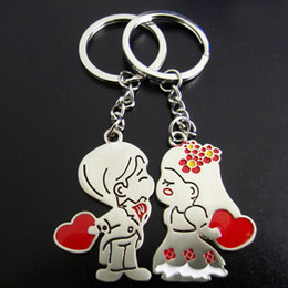 Wholesale Cheap Couples Ring - Lovely Key Ring Couple Key chain Rings Heart Advertising Promotion gift Cheap key chains 100PCS=50Pairs Fashion wedding Favors Gift 0233