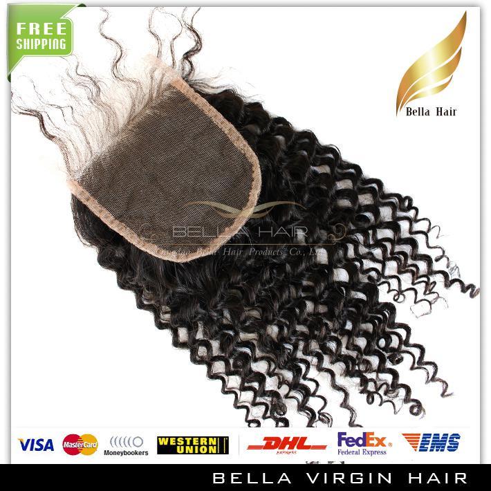 Bella cabelo encerramento de laço kinky cacheado weave 4x4 top fechamento brasileiro Virgem humana peça de cabelo de laço para venda 8