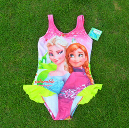Wholesale Wholesale Baby Girl Bathers - Free shipping 5 pcs lot Girls Baby Swimwear Toddler Swimsuit Frozen Queen Elsa Anna Tankini Bathing Bather New