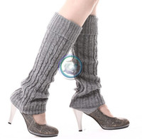 Wholesale Cream Leggings - black grey cream solid twist Leg Warmers Ballet Dance Warm up knitted Gaiters Boot Cuffs Stocking Socks Boot Covers Leggings Tight #3650