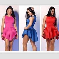 Wholesale New Mini Skirts - 5 Colors 2014 Hot Fashion Women Mini Dresses irregular Short Skirts New Summer Sleeveless Sexy Bodycon Club Party Ladies Girl Dress PY4