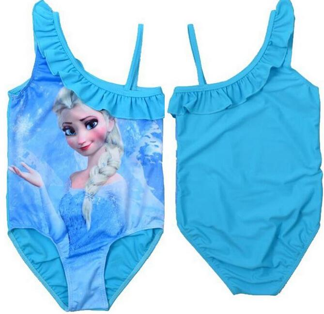f48ebab2d548d Baby Girls Elsa Anna Princess One-piece Swimsuit Big Children Girl s  Swimming Bathing Suit Snow Queen Bikini Swimwear Blue Online with  38.26  Piece on ...