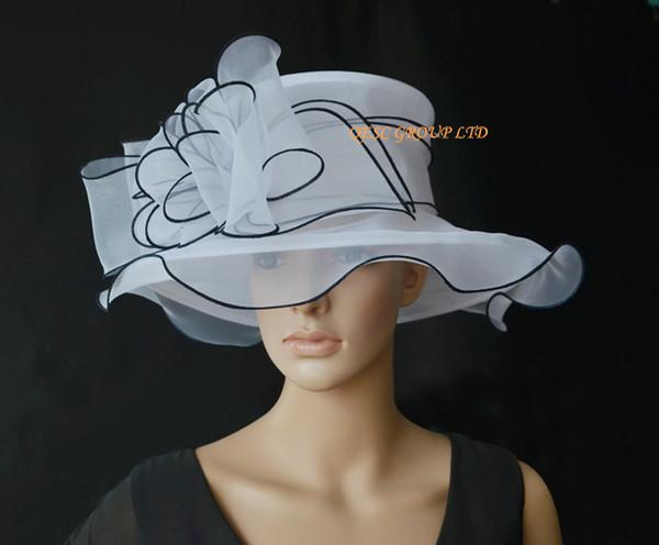 YENI VARıŞ moda Beyaz / blalck Organze Şapka Resmi Elbise Düğün için Kilise Şapka, Kentucky Derby, ücretsiz kargo