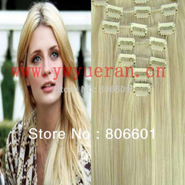 Lightest blonde clip hair extensions canada best selling wholesale free ship 16 30 7pcs 70g 80g 90g 100g 120g 100 human hair extensions clip in on 613 lightest blonde pmusecretfo Images