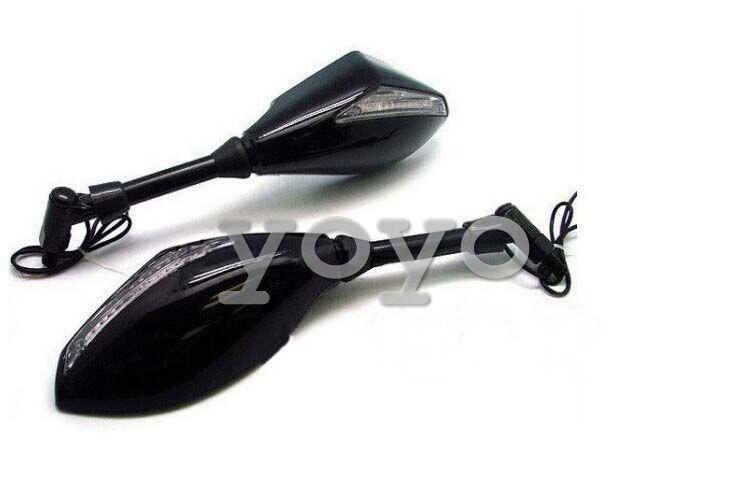 Neuer Motorrad-Seitenspiegel LED-Lichtmotorspiegel-Rückfahrspiegel Motorradzubehör für 10mm Schraube / 12V