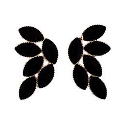 Wholesale Black Enamel Earrings For Women - New Fashion Earrings Charming Black Blue Color Enamel Leaf Design Dangle Earrings For Women