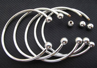 Wholesale 925 Silver Opening Bangle - 925 Sterling Silver Fill Open Women Cuff Bangle 65MM 70MM Size Fit European Beads Charm Bracelet