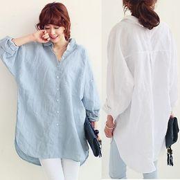 Wholesale Women Korea Tops - Hot Summer Korea Fashion Plus Size Sun-protective Shirts Pregnant Women Cotton Linen Loose Tops Shirt Long Sleeve Maternity Shirt