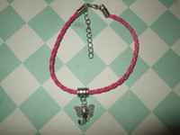 Wholesale Handmade Elephant Charm Bracelet - MIC 50 pcs Handmade Elephant Leather Bracelet with Charm - Dark Pink - African Animals Head 19cm (z202)