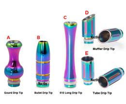 Balas de goteo online-Rich Style Rainbow Drip Tips Muffler Bullet Drip Tips Boquilla de goteo de acero inoxidable de diámetro ancho Boquillas para E Cig 510 EGO CE4 Atomizer